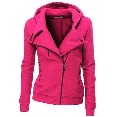 Women's Zipper Slim Fit Hooded Short Jacket Coat Ladies Casual Lapel Outwear Top