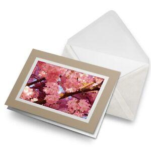 Greetings-Card-Biege-Japan-Pink-Cherry-Blossom-Japanese-8995