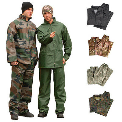 WATERPROOF RAIN SUIT SET HOODED JACKET & TROUSERS HIKING FISHING CAMPING S-3XL