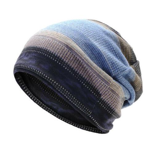 Mens Womens Outdoor Winter Stripes Beanie Hat Scarf Plus Cashmere Bonnet Hat
