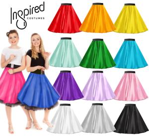 Rock-n-Roll-SATIN-Skirt-OR-Scarf-UK-LADIES-1950s-Costume-Musical-Fancy-dress