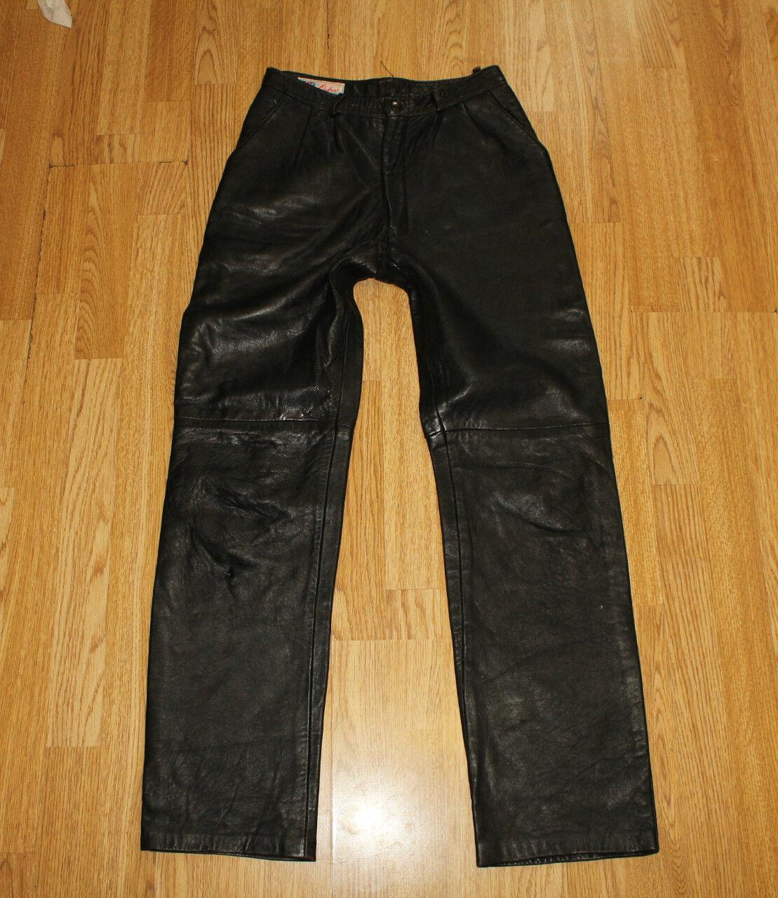 Brown Leather ORTOV Zip High Waist Tapered Biker Jeans Trousers Pants Sz 28 L 30