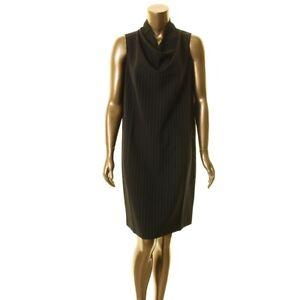 ANNE-KLEIN-NEW-Women-039-s-Black-Cowl-neck-Pinstriped-Shift-Dress-TEDO