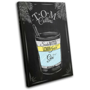 Tom-Collins-Cocktail-Alcohol-Vintage-SINGLE-CANVAS-WALL-ART-Picture-Print