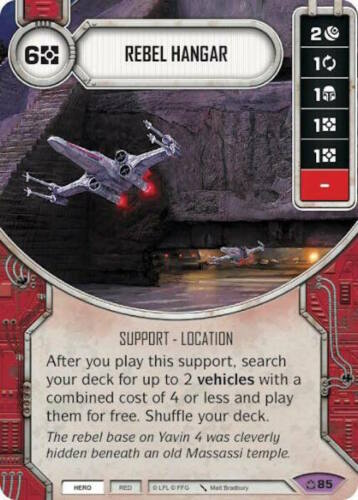 Star Wars Destiny ~ Covert Missions ~ Rebel Hangar #85 Legendary w// Die