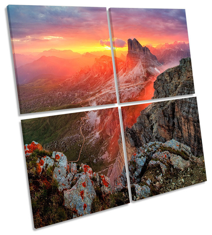 Alp Mountain Sunset Landscape MULTI CANVAS WALL ART Square Picture