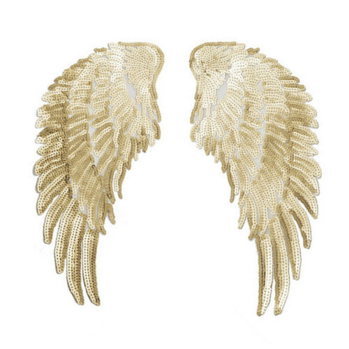 Applique Motif Sequins Iron-On Embroidered Angel Wings Decor Patch Hot