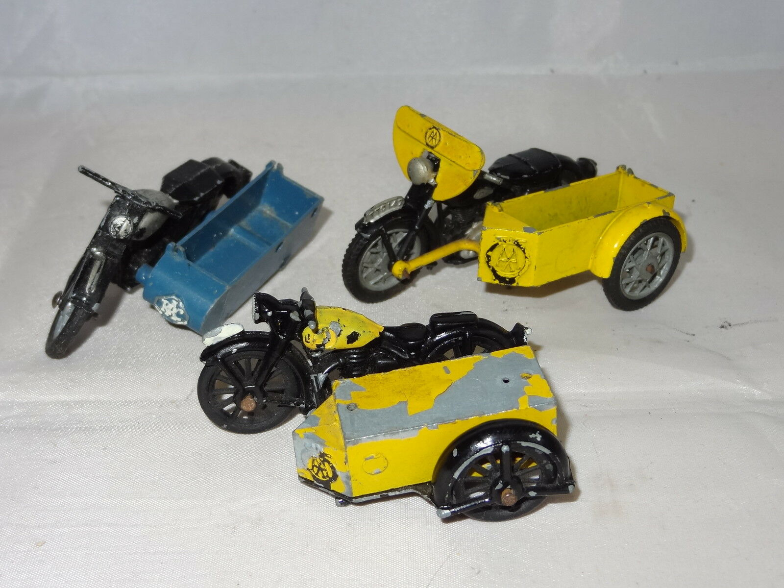 Morestone budgie benbros crescent LOT OF 3 AA RAC MOTORCYCLE AND SIDECAR