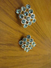 "Silver Tone & Light Aqua Blue Sparkly Clip On Earrings - 1"" long"