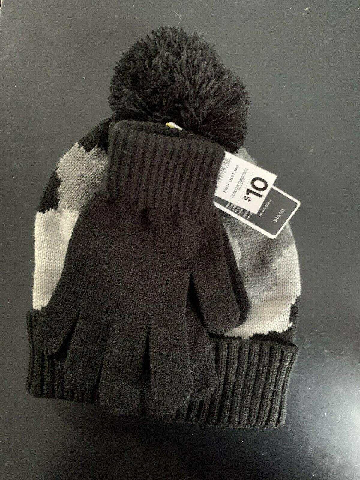 Charles Albert Grey Camo Beanie With Matching Black Gloves 1 set