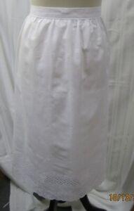 "Eyelet Hem 25"" Skirt Apron Reenactment Kitchen New Handmade Cotton"