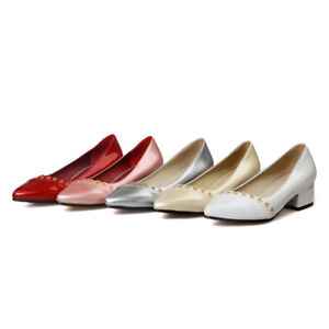Ladies-Pointed-Shoes-Synthetic-Leather-Med-Block-Heels-Party-Pumps-US-Size-S229