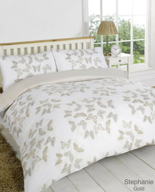 Stephanie Gold / Cream Beige Butterfly King Bed Size Duvet Cover Bedding Set