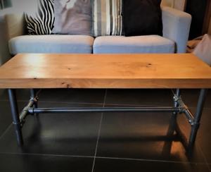table basse ou meuble TV chêne massif et piétement acier | coffee table or TV