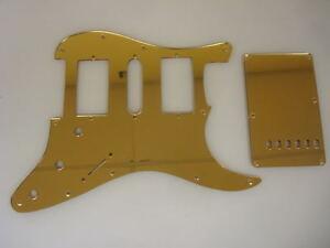 strat stratocaster gold mirror pickguard set fender hsh ebay. Black Bedroom Furniture Sets. Home Design Ideas