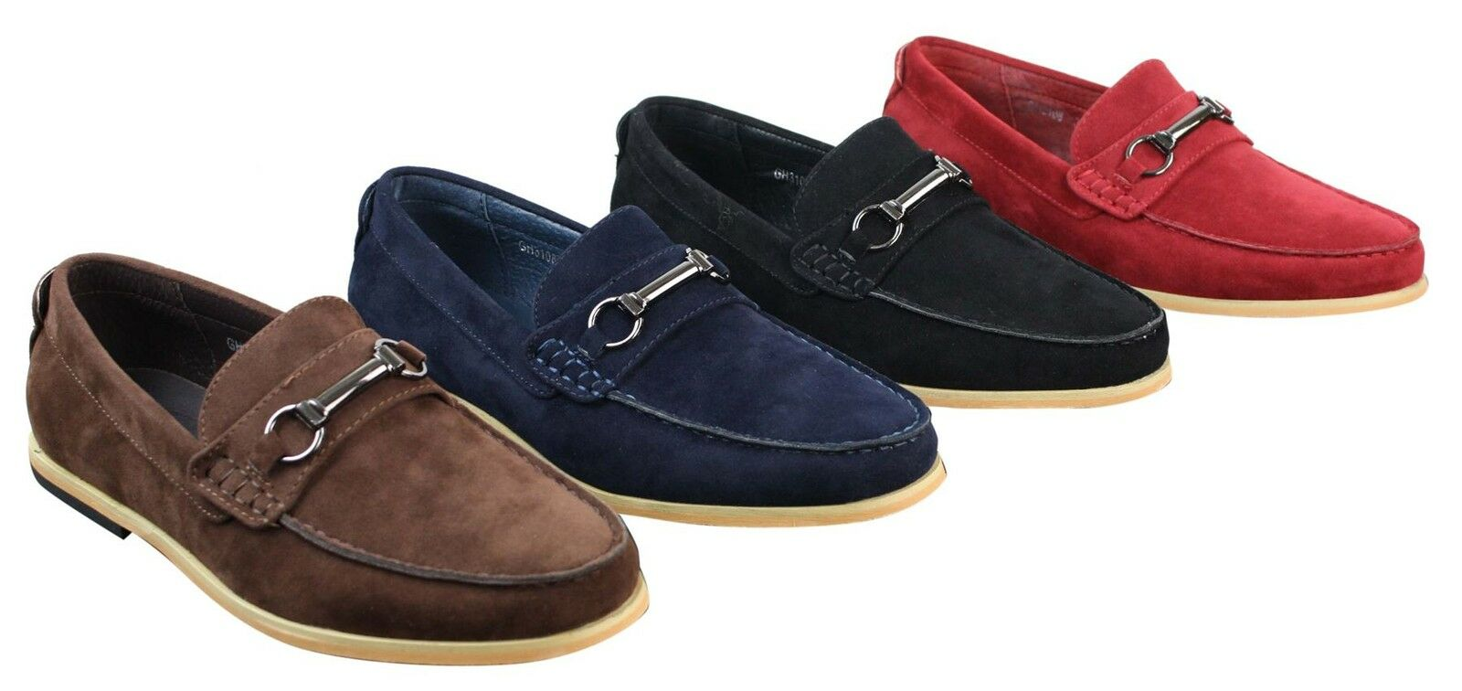 Mens Slip On Buckle Horsebit Driving Shoes Loafers Retro Smart Casual Suede