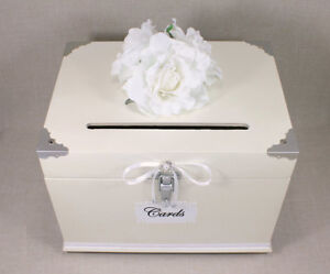 Antique White, Pearl, Silver Wooden Wedding Card Box Trunk, Shabby ...