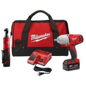 Milwaukee-2663-22RH-Cordless-M12-3-8-034-Ratchet-M18-1-2-034-Impact-Wrench-Combo-Kit