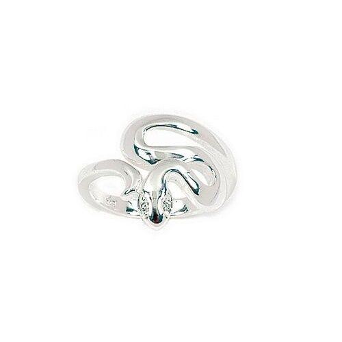 Bijoux Femme Enfant T56 Bague Joaillerie Serpent aux Yeux Diamant Cz silver 925