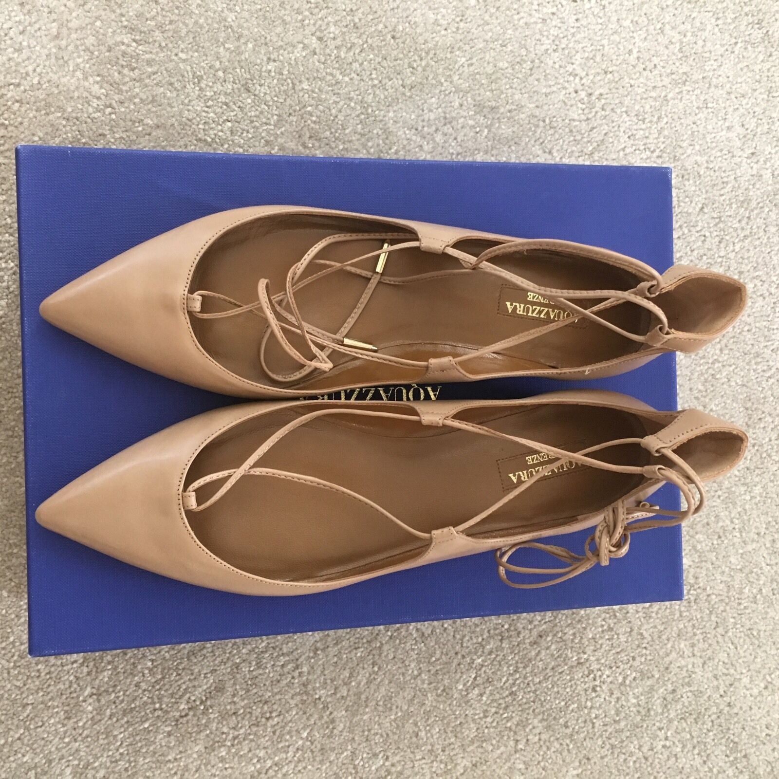 Aquazzura Christy läder Lace Up slips Ballet Point Toe Toe Toe Flats Biscotto Beige 38.5  lågt pris