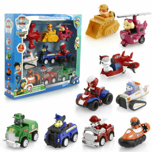 pawww Patrol Racer Car Dog 9PCS Marshall Rubble Rocky Chase Skye Kids Gift Toys