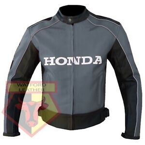 HONDA-5523-GREY-MOTORBIKE-MOTORCYCLE-BIKERS-COWHIDE-LEATHER-ARMOURED-JACKET