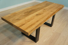 Tischplatte Massivholzplatte Eiche massiv Farblos geölt naturbelassene Baumkante