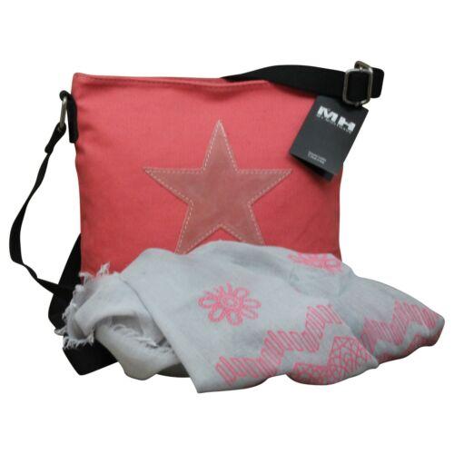 Shopper Canvas-Tasche Blogger mit Stern Schultertasche Canvas /& Schal Gratis