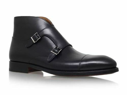 MEN HANDMADE BLACK DOUBLE MONK STRAP BOOT HIGH QUALITY PURE LEATHER SHOES