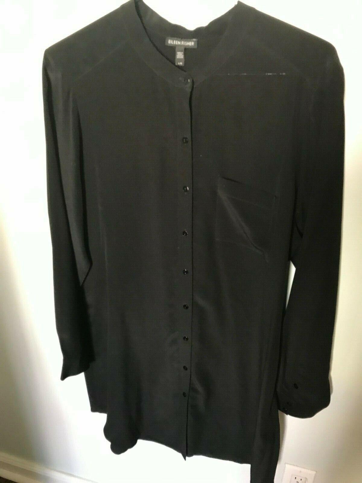 Eileen Fisher schwarz Long Silk Button Tunic - Größe L