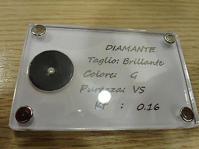 DIAMANTE BLISTER BRILLANTE CARATI 0,16 CT COLORE G PUREZZA VS