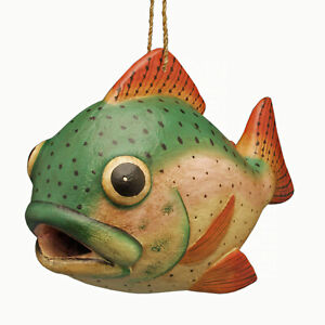 BIRD HOUSES - TROUT BIRD HOUSE - TROUT BIRDHOUSE - GARDEN DECOR