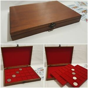 Wooden-Coin-Tray-Cabinet-Coin-Medal-Storage-Box-2-Trays-Collection-Holder-wood