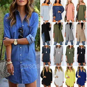 Womens-Long-Sleeve-Blouse-Ladies-Casual-Loose-Short-Mini-Shirt-Dress-Tunic-Tops