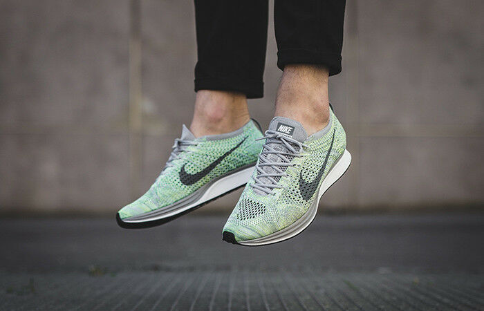 NEW MENS 7 WOMENS 8.5 NIKE FLYKNIT RACER SHOES GHOST GREEN GREY MACAROON 526628