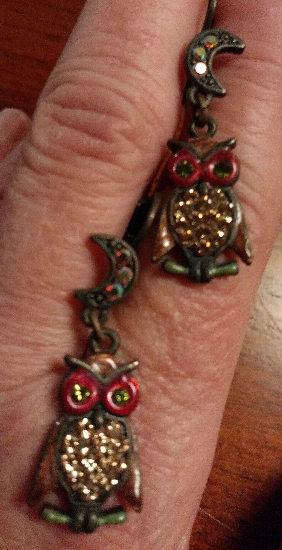 Kirks Folly Signed AB Owl Dangling Earrings