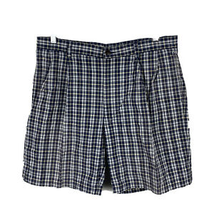 Nautica-Nantucket-Mens-Shorts-Size-36-Plaid-With-Pockets-Blue-Faded