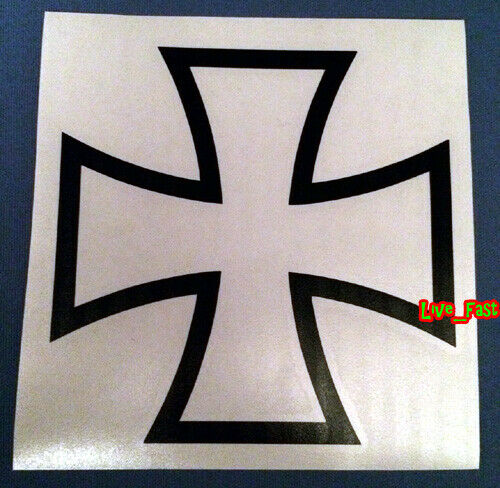 IRON CROSS DECAL STICKER VINYL maltese cross outlaw biker chopper motorcycle