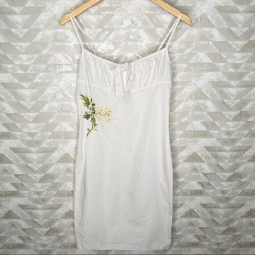 Vintage vivienne Tam embroidered white dress 90s S