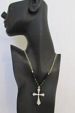 New Women Fashion Necklace Metal Cross Rhinestones Silver Turquoise / Gold Black