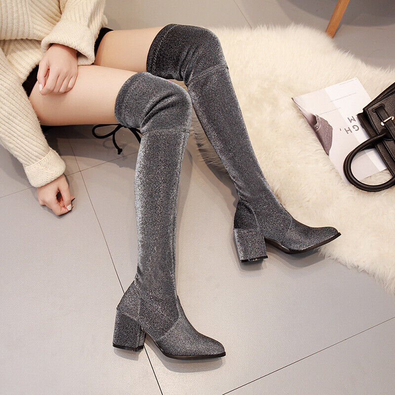 Fashion Womens Stretchy Sequin Fabric Chunky Heels Over Knee High Boots shoes