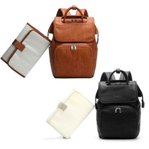 PU Leather Diaper Bag Mummy Maternity Nappy Backpack Multi Function Organizer