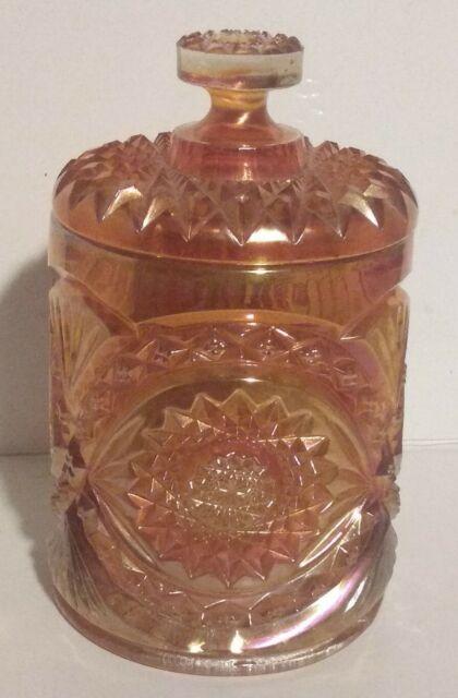 VINTAGE IMPERIAL HOBSTAR MARIGOLD CARNIVAL GLASS CRACKER BISCUIT 8