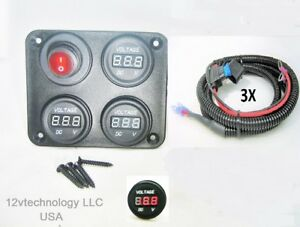 Three-battery-or-Bank-Voltmeter-Display-Test-Monitor-w-XLong-72-034-Fused-Cables
