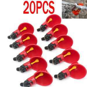 20 Pcs Chicken Poultry Water Drinker Cups Bowl Automatic Pigeon Hen Farm Feeder