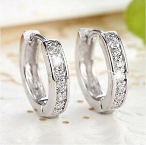 18k-White-gold-Filled-CZ-Sapphire-Stud-Earrings-Hoop-charming-Womens-Jewellery