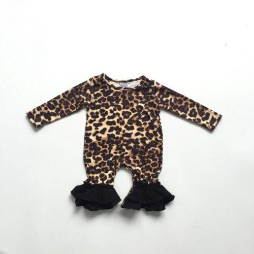 US Leopard Newborn Baby Girl Clothes Long Sleeve Romper Jumpsuit Bodysuit Outfit