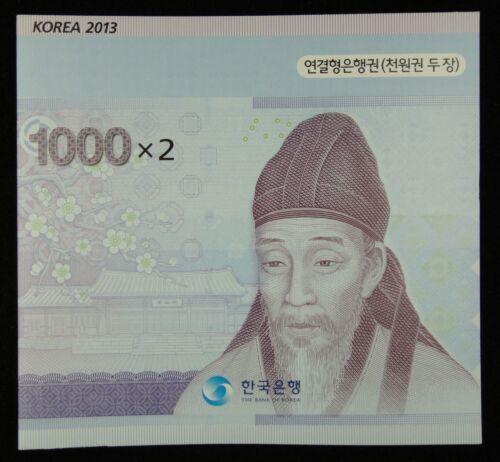 South Korea BANKNOTE 1000 Won UNCUT 2 in 1 UNC