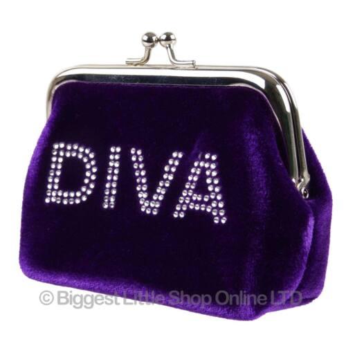 pochette avec diamonte design cadeau Nouveau Femme Filles Velours Doux fermoir porte-monnaie