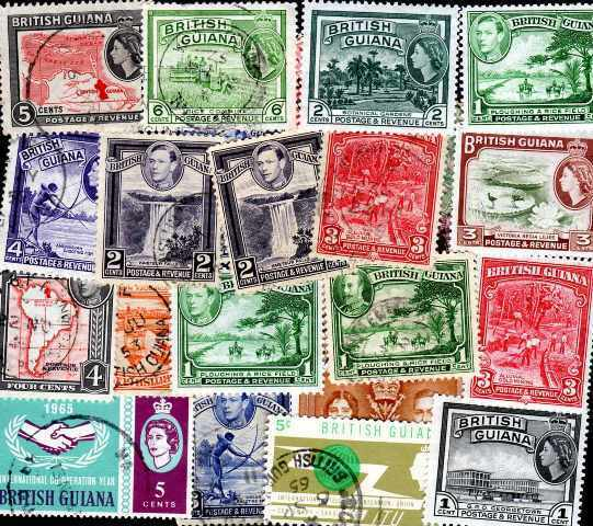 Guyana Británica - British Guayana 50 sellos diferentes